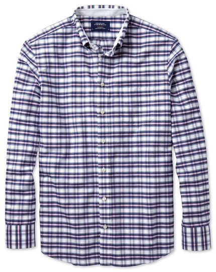 Slim fit navy and pink check washed Oxford shirt