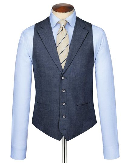 Airforce blue puppytooth Panama business suit vest