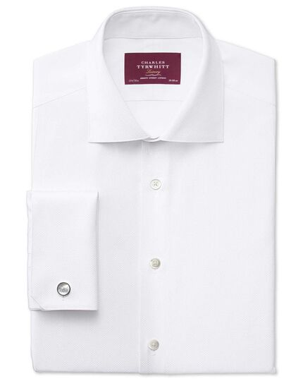 Extra slim fit spread collar luxury white tuxedo shirt