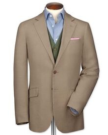 Slim fit beige linen jacket