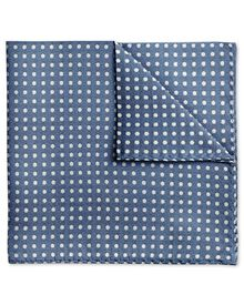 Sky and white silk Oxford spot classic pocket square