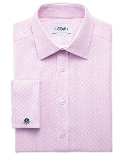 Extra slim fit Egyptian cotton diamond texture pink shirt