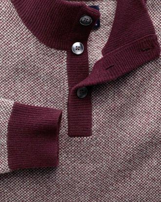 Wine jacquard button neck jumper