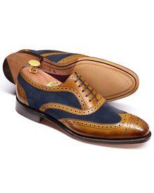 Foundry Budapester Oxford-Schuh mit Flügelkappen aus Veloursleder in gelbbraun