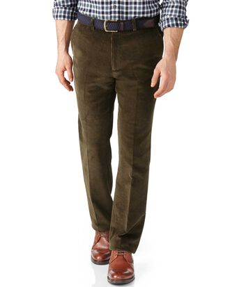 Olive slim fit jumbo cord trousers