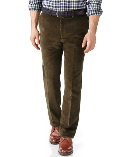 Olive slim fit jumbo cord pants