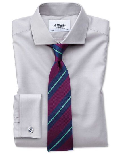 Extra slim fit spread collar non-iron twill grey shirt