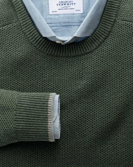 Olive merino cotton crew neck jumper