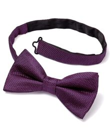 Purple silk classic plain ready-tied bow tie