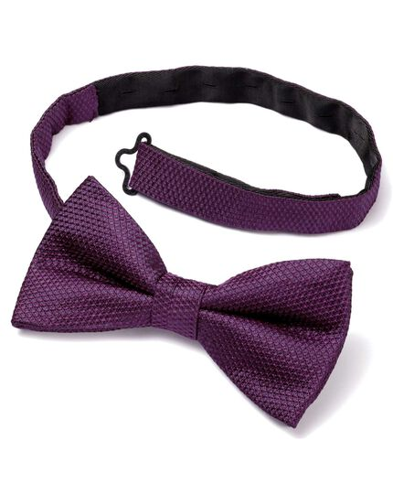 Purple silk classic plain ready-tied bow tie