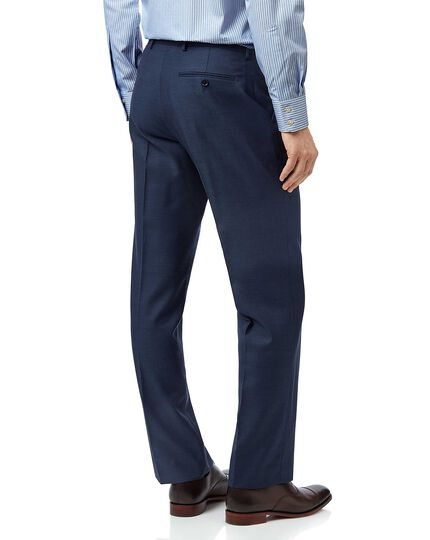 Blue classic fit twill business suit trouser