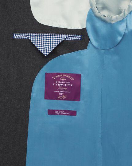 Charcoal classic fit British hopsack luxury suit jacket