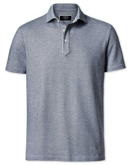 White and navy birds eye polo