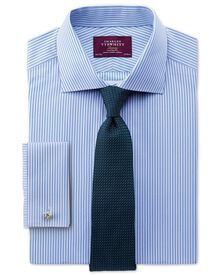 Slim fit semi-cutaway collar luxury poplin stripe sky blue shirt
