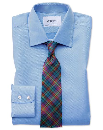 Classic fit Egyptian cotton cavalry twill blue shirt
