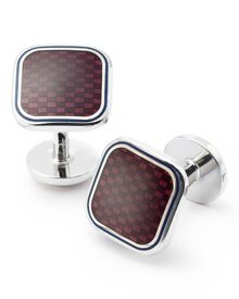 Burgundy basketweave enamel cuff links