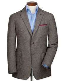 Slim fit brown semi-plain cotton flannel jacket