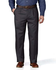 Charcoal classic fit single pleat chinos