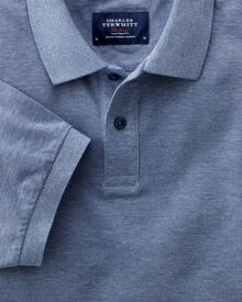 Classic fit blue Oxford polo shirt
