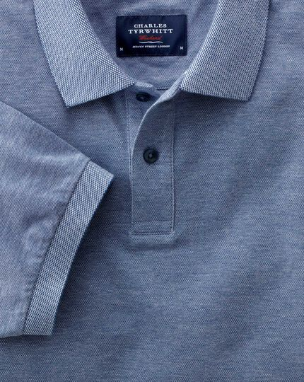 Classic fit blue Oxford polo