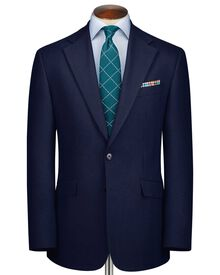 Royal blue slim fit herringbone business suit jacket
