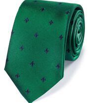 Green and navy silk fleur-de-lys classic tie