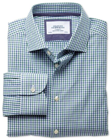 Slim fit semi-spread collar business casual melange green check shirt