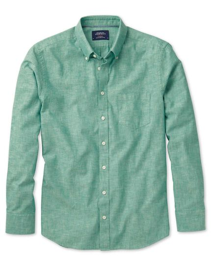 Slim fit green chambray shirt