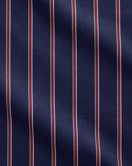 Extra Slim Fit Business-Casual Hemd in Marineblau und Rot mit Segelstreifen