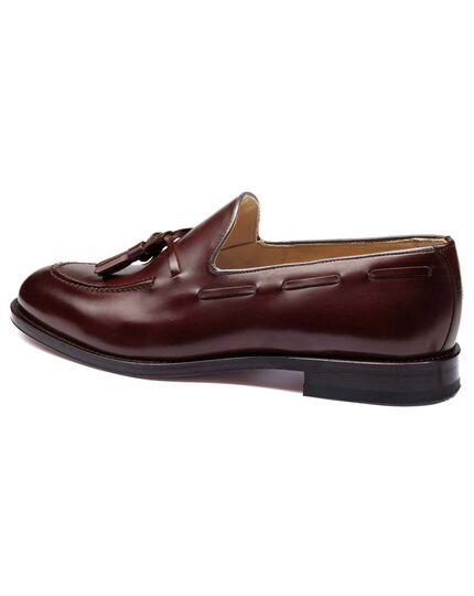 Burgundy Keybridge tassel loafers