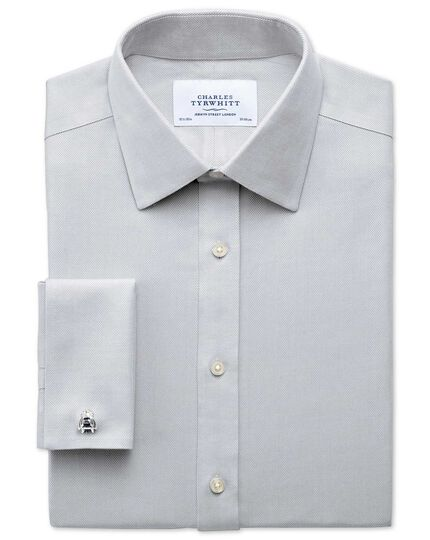Classic fit non-iron herringbone grey shirt