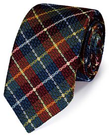 Navy and red silk check grenadine Italian luxury tie
