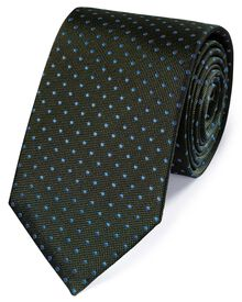 Green and blue silk small spot classic tie