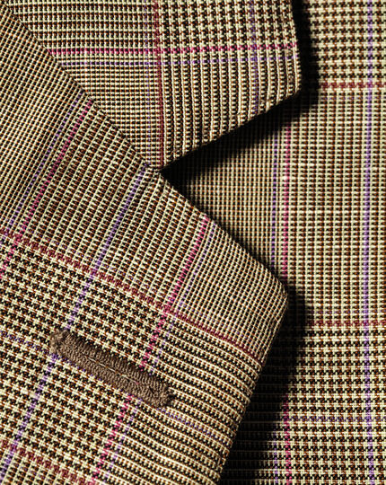 Slim fit gold check luxury wool linen jacket