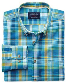Slim fit green and blue check shirt