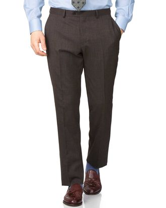 Brown slim fit end-on-end business suit trouser