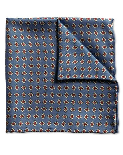 Blue diamond print luxury pocket square