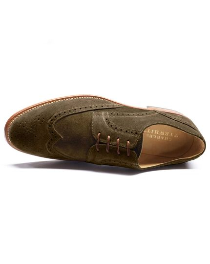 Olive Mornington suede wingtip brogue Derby co-respondent shoes