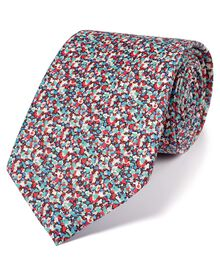 Pink multi cotton luxury Italian floral tie