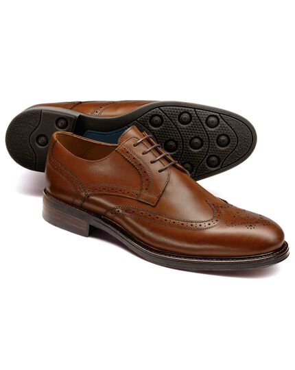 Tan Halton wing tip brogue Derby shoes