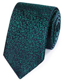 Navy and green silk floral classic tie