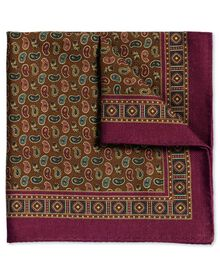 Berry and brown printed wool luxury pocket square