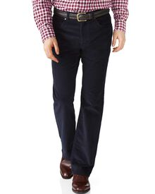 Dark navy classic fit stretch 5 pocket needle cord trouser