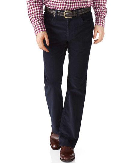 Dark navy classic fit stretch 5 pocket needle cord pants