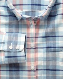 Women's semi-fitted cotton Oxford check shirt