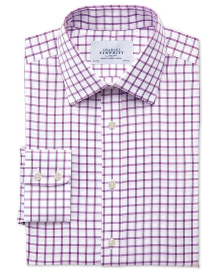 Bügelfreies Slim Fit Hemd aus Twill in lila mit Gitterkaros