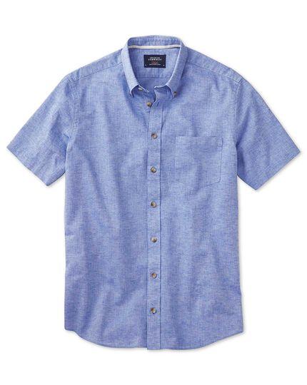 Classic fit short sleeve mid blue shirt