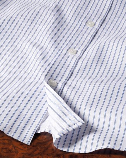Classic fit Egyptian cotton textured stripe white and navy shirt