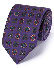 Cravate de luxe violette à médaillon en soie anglaise