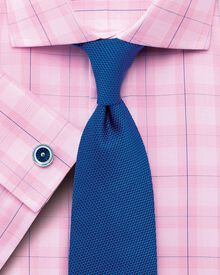 Classic fit semi-cutaway collar Prince of Wales check pink shirt